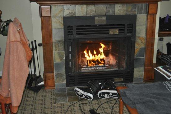 Place St-Bernard: in room fireplace