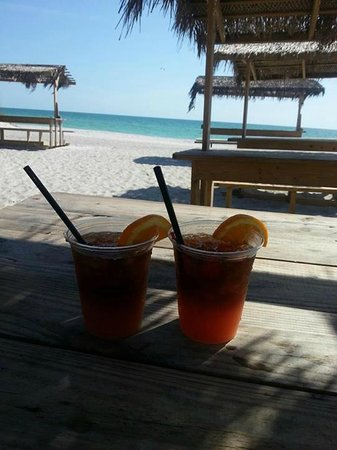 Lido Islander : Here is us having a drink at the Ritz Carlton Beach Bar just a few blocks away