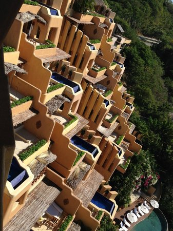 Capella Ixtapa: the rooms are built up on the hill for privacy and great view