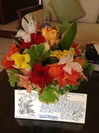 Galley Bay Resort: Fresh flowers daily and a personalized note for our anniversary