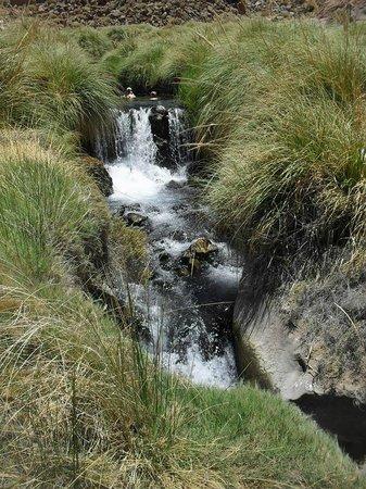 Termas Banos de Puritama : Une cascade entre deux niveaux de bassin