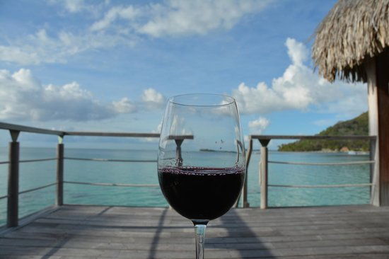 Conrad Bora Bora Nui: Wine on our deck