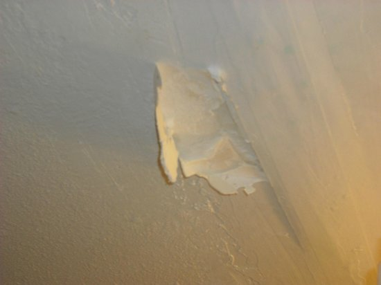 Howard Johnson Enchanted Land Hotel Kissimmee FL: ceiling in bathroom, can't see mold b/c i had already cleaned it with bleach