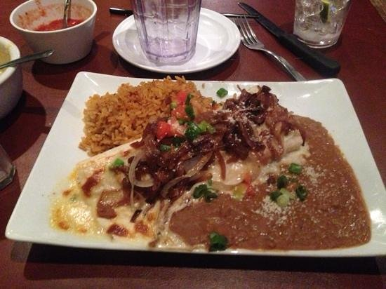 Mestizo Restaurant: Crawfish burrito with carmalized onions, rice and beans.