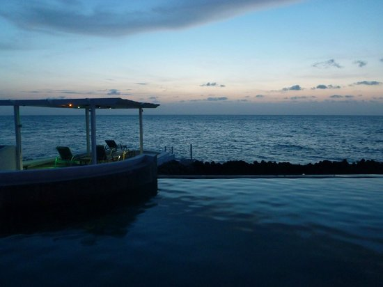 Lands End: View from the deck, overlooking the infinity pool, leading out to the ocean.