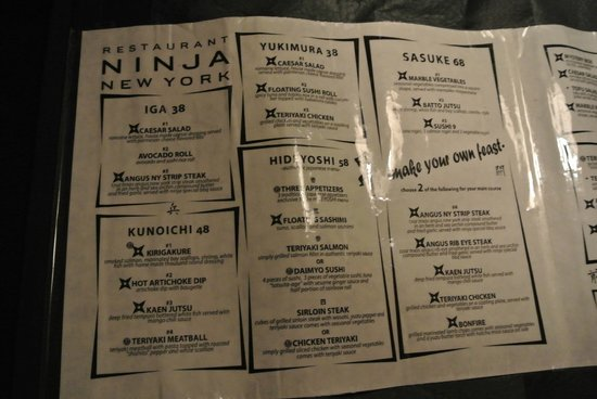 Ninja Restaurant Nyc Menu Prices