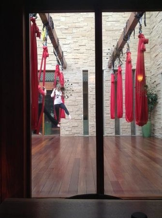 Fairmont Scottsdale Princess: arial yoga while eating lunch at spa!