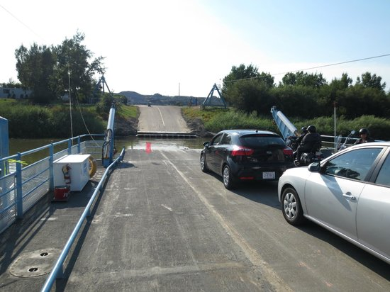 Bleriot Ferry: Cars and bikes onboard, with room for RVs