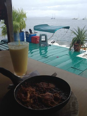 Hotel Olas: Food on back patio with water view