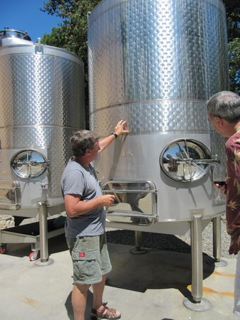 Kachina Vineyards: Greg explains the stainless steel dimpled wine barrel