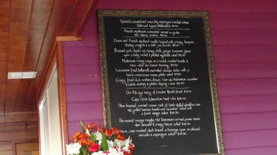 Xanders Brasserie: Blackboard menu