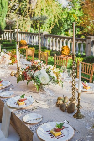 Villa Marco Polo  Inn: Outdoor autumn wedding at the Villa