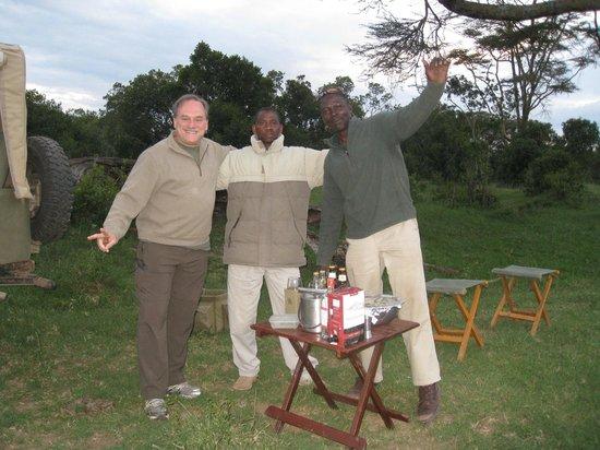 Ol Pejeta Bush Camp, Asilia Africa: Sun downer with Duma and John out in the bush