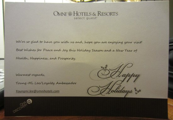 The Omni King Edward Hotel: Welcome Card Delivered to Room