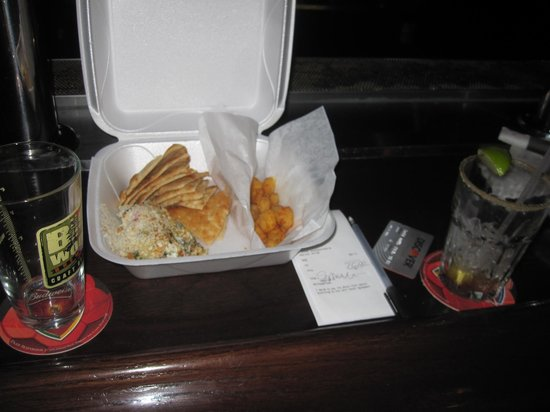Stanley's Northeast Bar: Appetizers, artichoke dip and cheddar cheese balls, ready to go