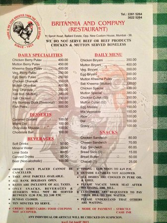 Britannia & Company Restaurant : Menu Card