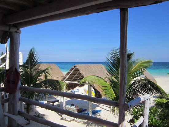 Posada Lamar: another view from the porch, with sun shade shelters on the beach
