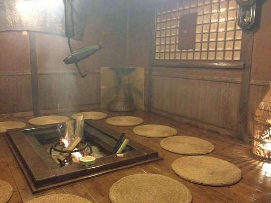 Yamashinobu : Fireplace area - open to all, free sake after 9pm!