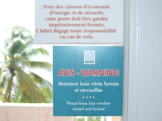 Hotel La Bateliere: Note de sécurité.......