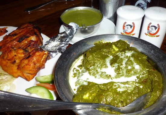 Gallops: tandoori chicken, palak paneer