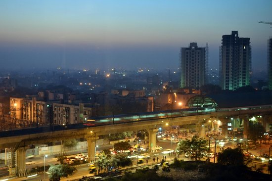Crowne Plaza New Delhi Rohini: Rithala metro at night from room