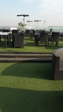 Sarovar Portico Jaipur: roof top artificial lawn and swimming pool