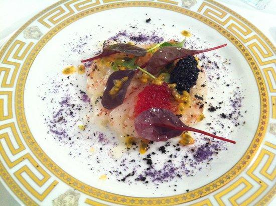 Miti Di Palma: Carpacio de gambas y caviar