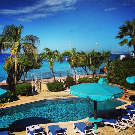 Bonaire Oceanfront Apartments: looking at the pool from the apartment