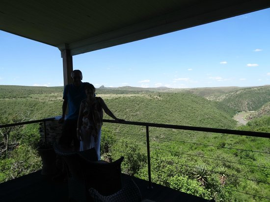 Fugitive's Drift Lodge and Guest House : View from the Library with Isandhlwana in the distance