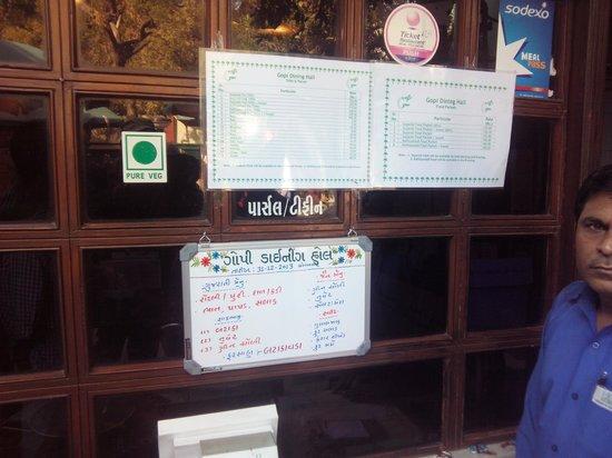 Gopi Dining Hall : Detailed Menu