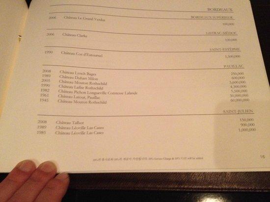 Lotte Hotel Seoul: Nicht schlecht: CHF 60'000.-- für 1 Fl. Wein.