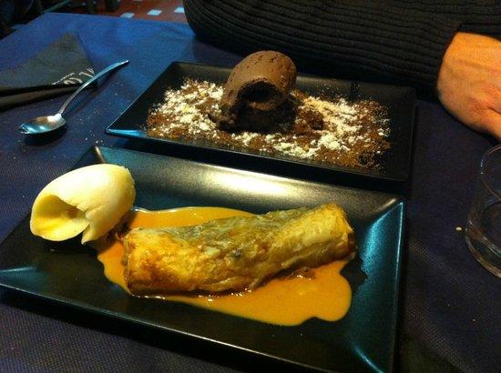 Ca'l Cuc Taverna: Postre: Strudel de pera y tarta de avellana