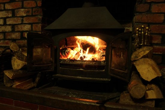 Glan Ceirw Caravan Park: Log fire in the public lounge