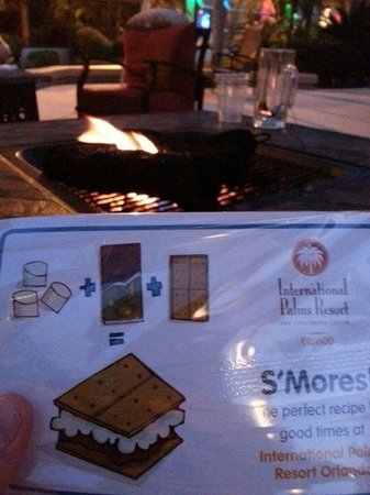 International Palms Resort & Conference Center : Smores kits available from the lobby. Once bought,  somebody will come and the light the fire pi