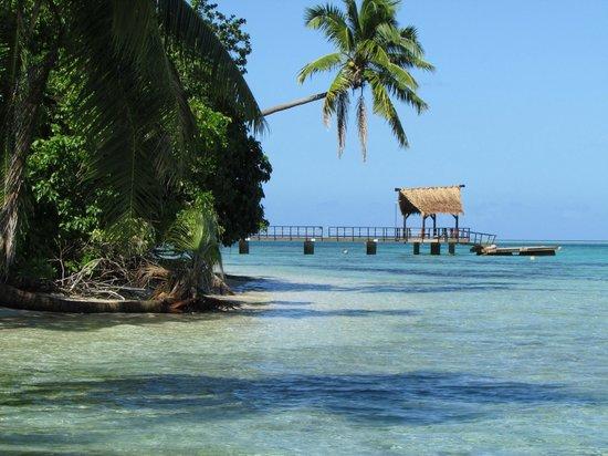 Leleuvia Island Resort: Beautiful shore with boat dock.