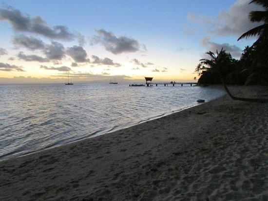Leleuvia Island Resort : Boat dock at sunset.
