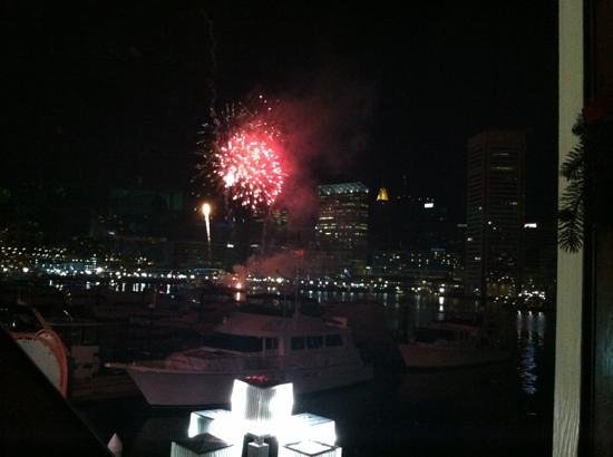 Rusty Scupper: View of New Years Eve fireworks from our table.