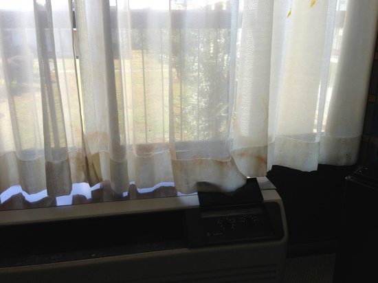 Motel 6 Conyers GA: Are we really actually hoping that's mustard on the curtains…?!