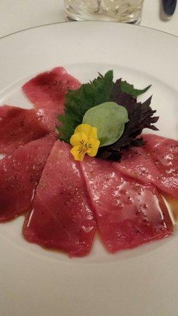 Ca l'isidre : Blue fin tuna carpaccio. . Melt in mouth