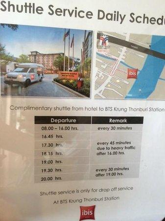 ibis Bangkok Riverside - Shuttle schedule