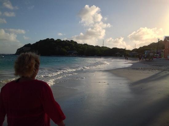Pineapple Beach Club Antigua: beach looking down from hotel, half is a public beach.