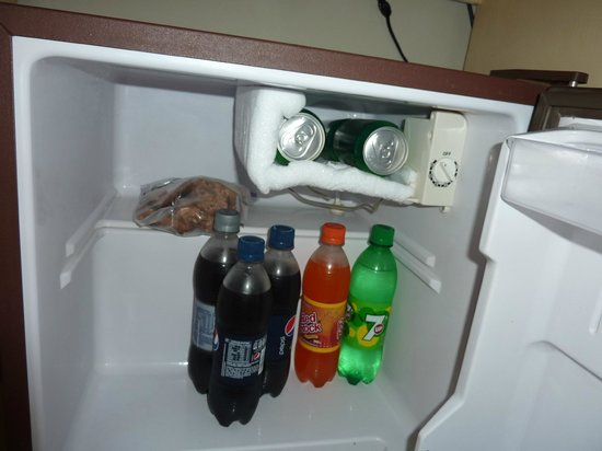 bar fridge with two beer in the freezer for fast cool down