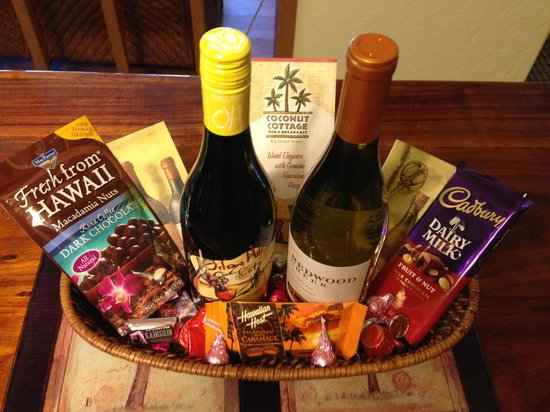 Coconut Cottage Bed & Breakfast : Custom Wine and Chocolate basket