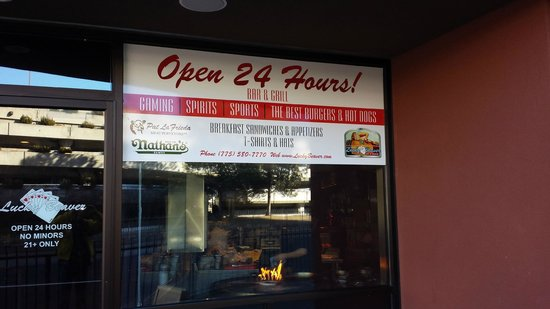 Lucky Beaver Bar and Burger: Front Window Showing Rotating Grille