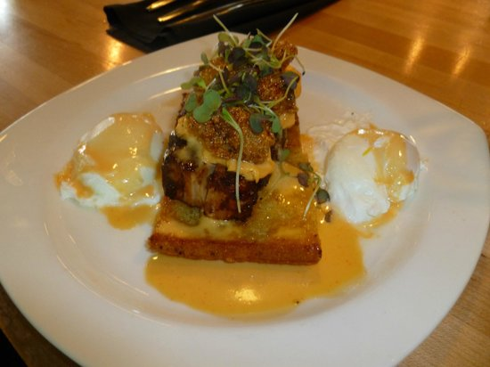The Towne Plaza : My meal was delish cornbread, topped w/pork belly, topped w/fried oysters, poached eggs on the s