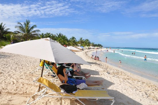 Flamenco Beach: Beach chairs and Umbrellas for $20 for the day