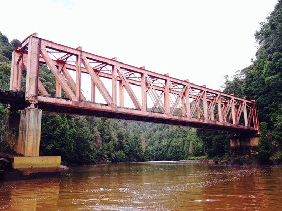 Wild Rivers Jet: Rail Bridge over the King River, Near Strahan.