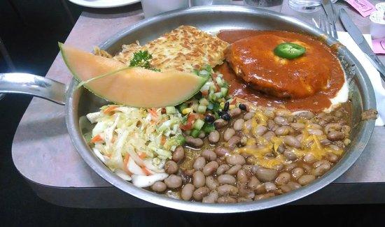 Peg's Glorified Ham n Eggs : Huevos Rancheros on Chorizo with Slaw and Hash Browns