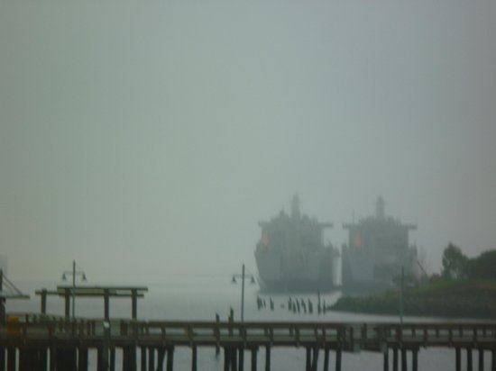 Silver Cloud Inn Tacoma - Waterfront: The Navy ships from our room in the morning fog