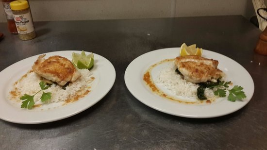 The Bistro at Sky Beach Club: Our new Grouper, Wilted Greens & Jasmine Rice